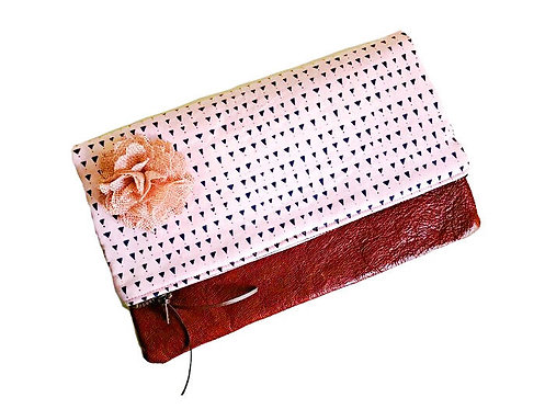 Triangles Pink Foldover Leather Clutch