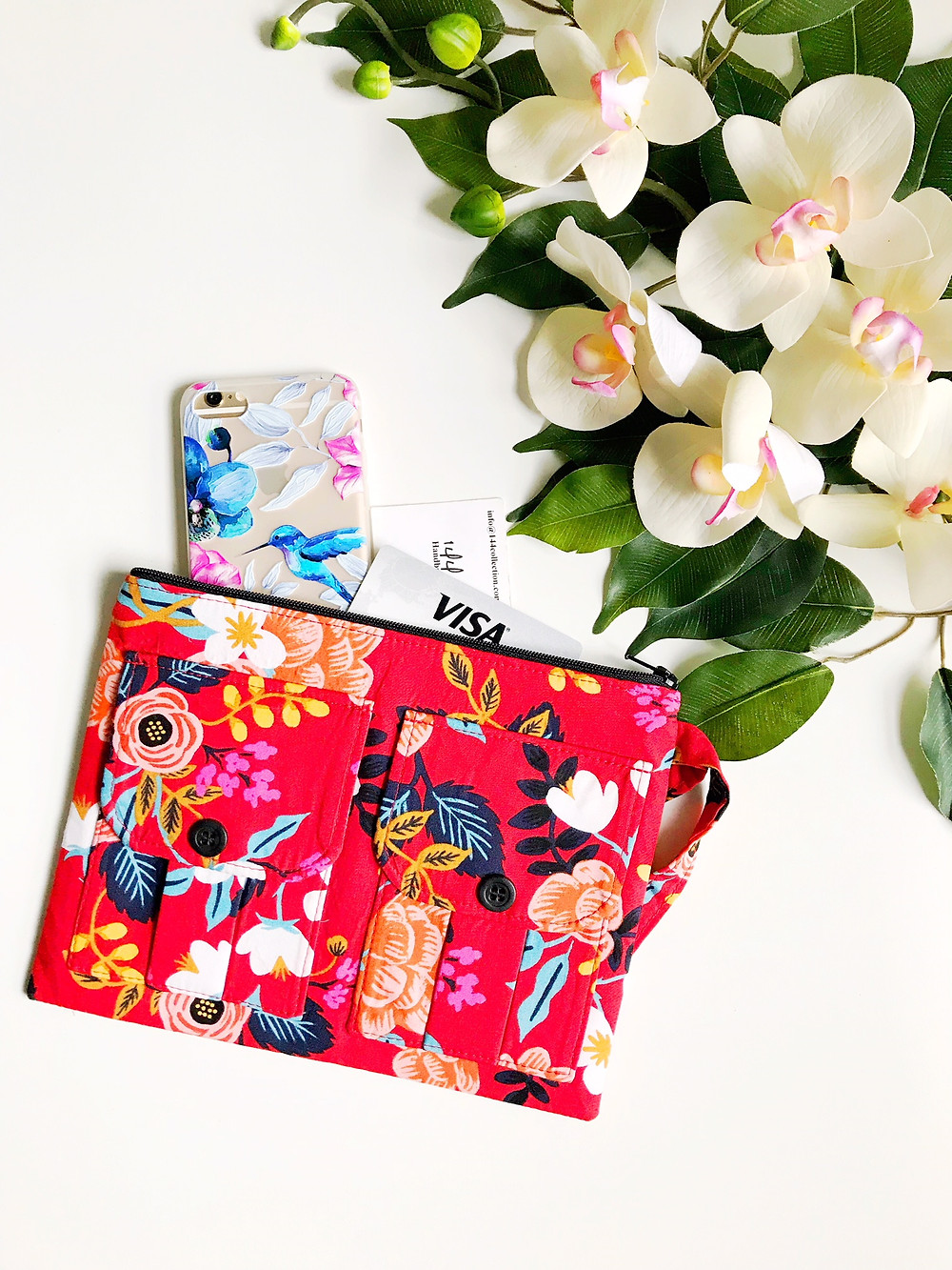 iPhone Wallets for Women  - Red Floral Print