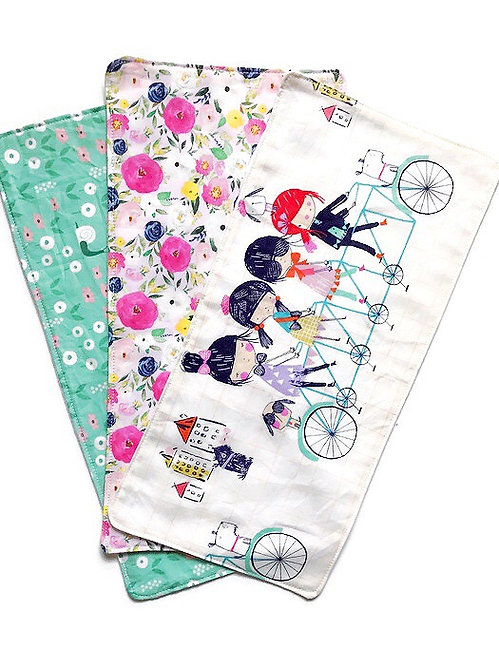 Baby Burp Cloth Set of 3 for Girls