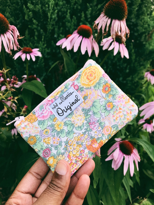 coin purse wallet - pink and yellow floral print