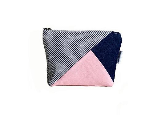 denim and pink canvas bag