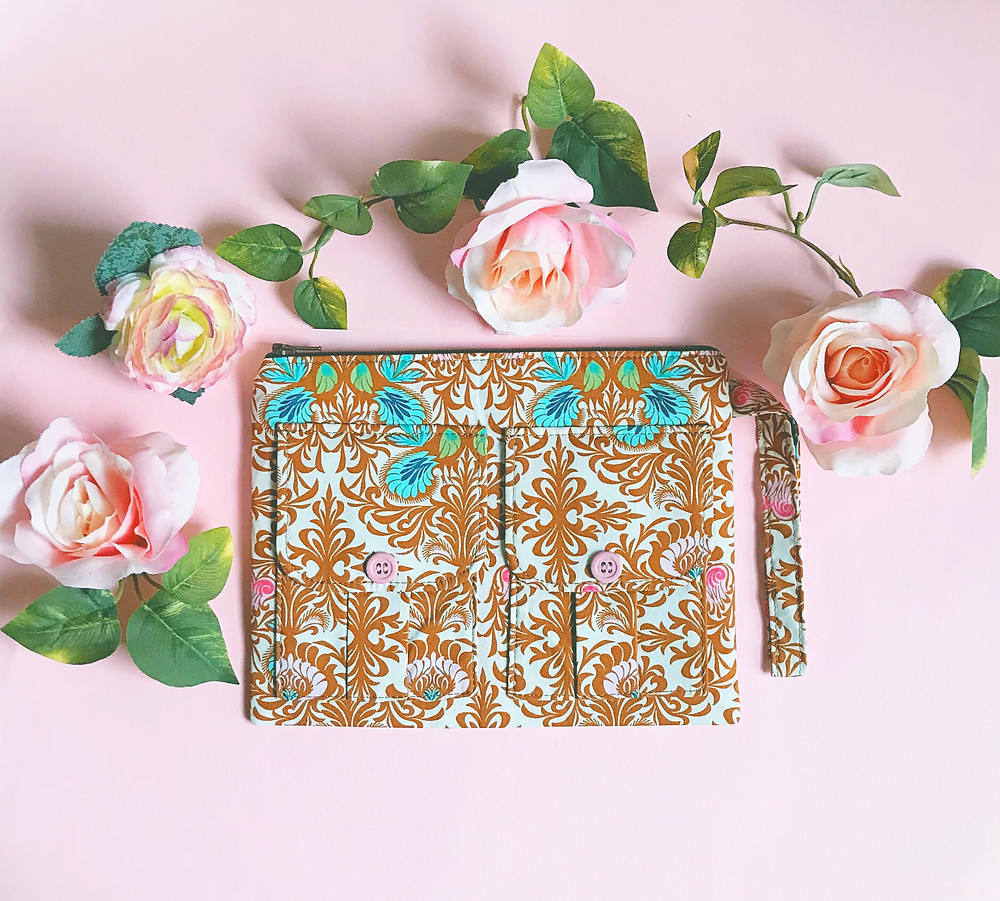 Handmade Wristlet - Brown Floral Print