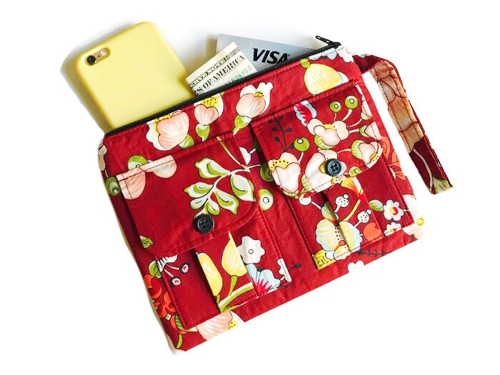 Wristlet Bag - Red Floral Print - Wristlet Wallet