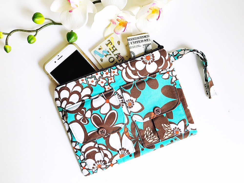 Handmade Wristlet Purse - Turquoise and Brown