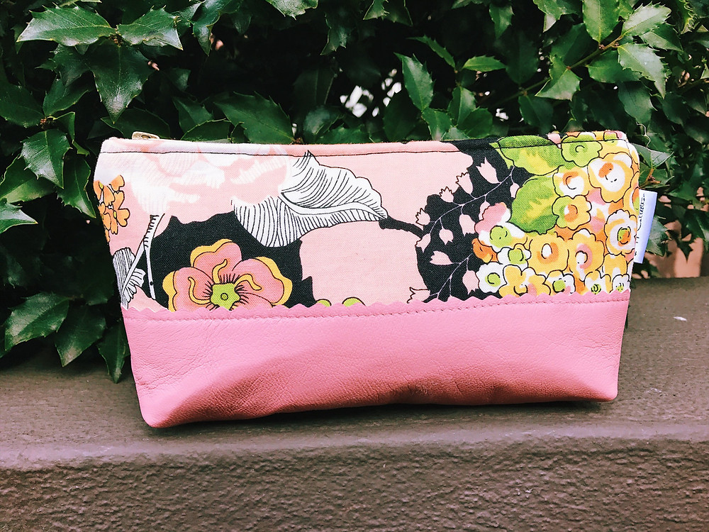 Leather Makeup Bag - Pink and Black Floral Print