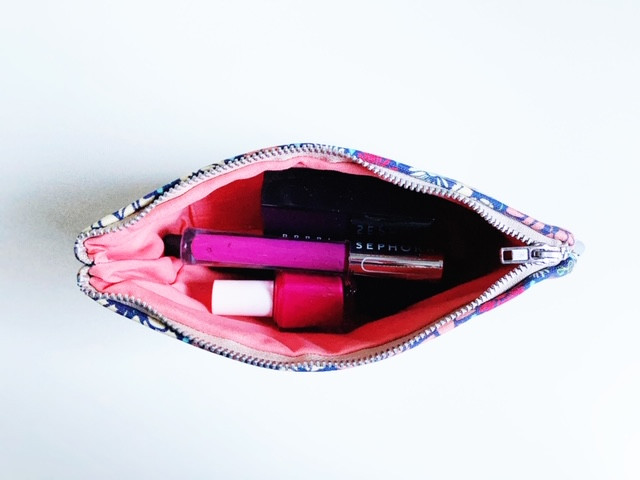 Leather Cosmetic Bag with Makeup