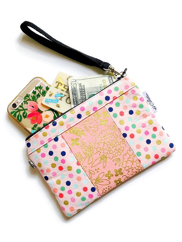 small wristlet purse - pink polka dot