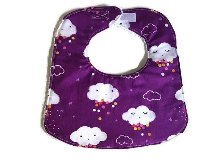 Baby Girl Bibs - Cloud Print - Dribble Bibs