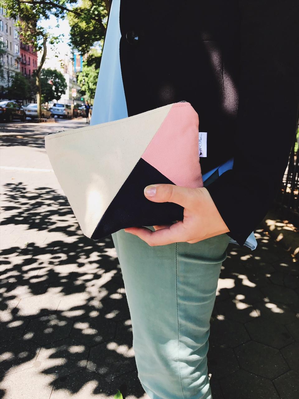 Canvas Makeup Bag - Color Block Handbag - Navy Blue, Pink and Natural Print