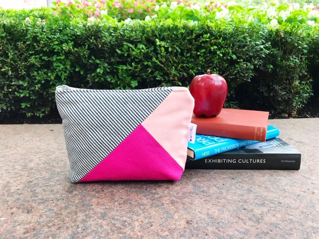 Back to College Shopping - Pink and Fuchsia Canvas Zipper Pouch