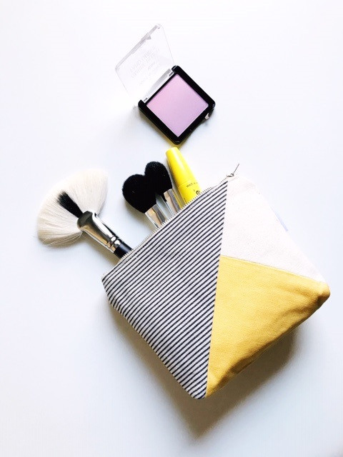 Makeup Bags Made in the USA - striped yellow canvas makeup bag