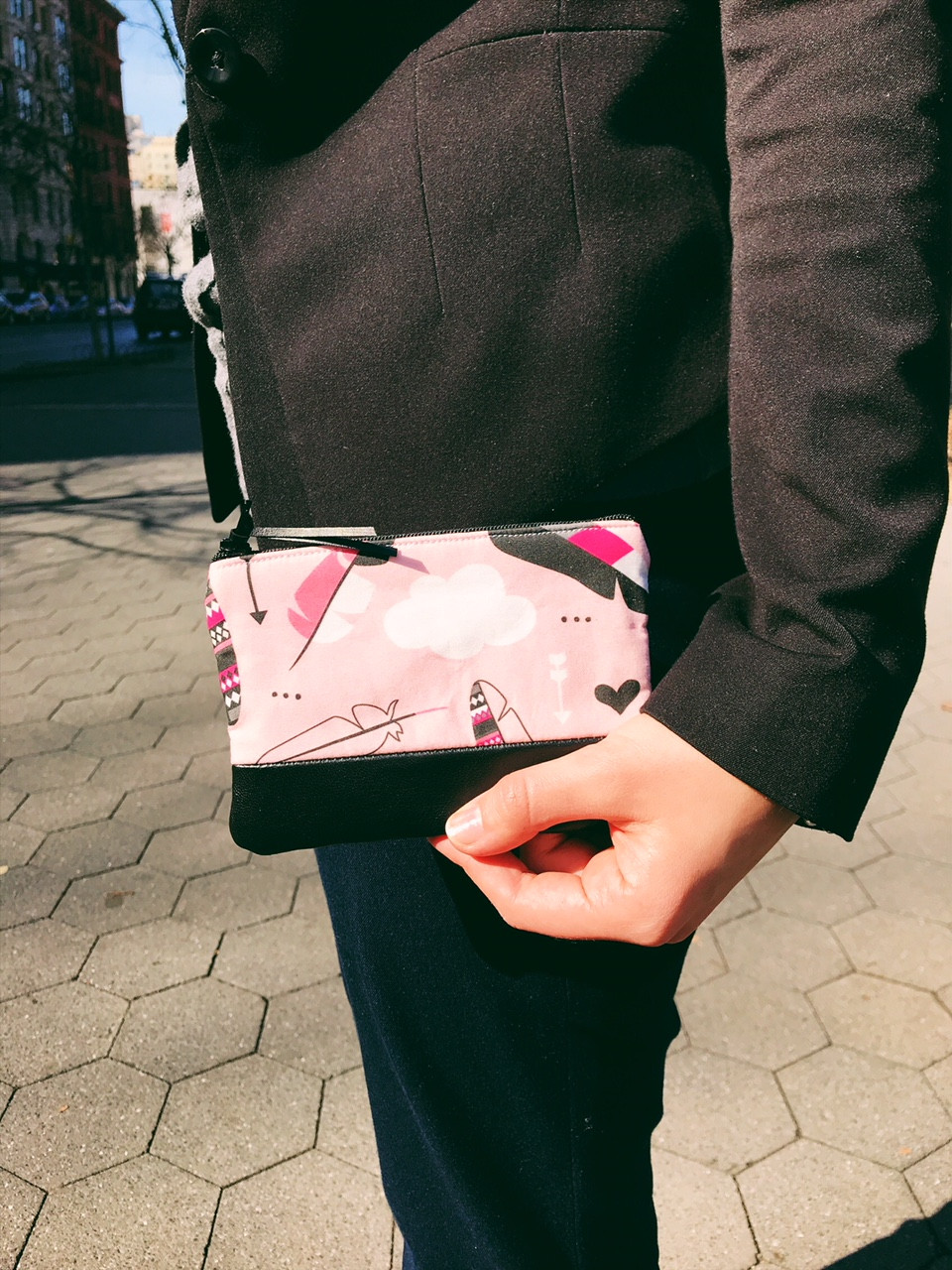 Women's Coin Purse - Pink and Black Cloud and Arrow Print