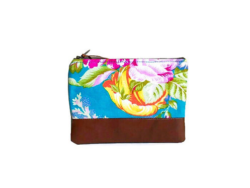 Handmade Coin Purse - Turquoise Floral Print