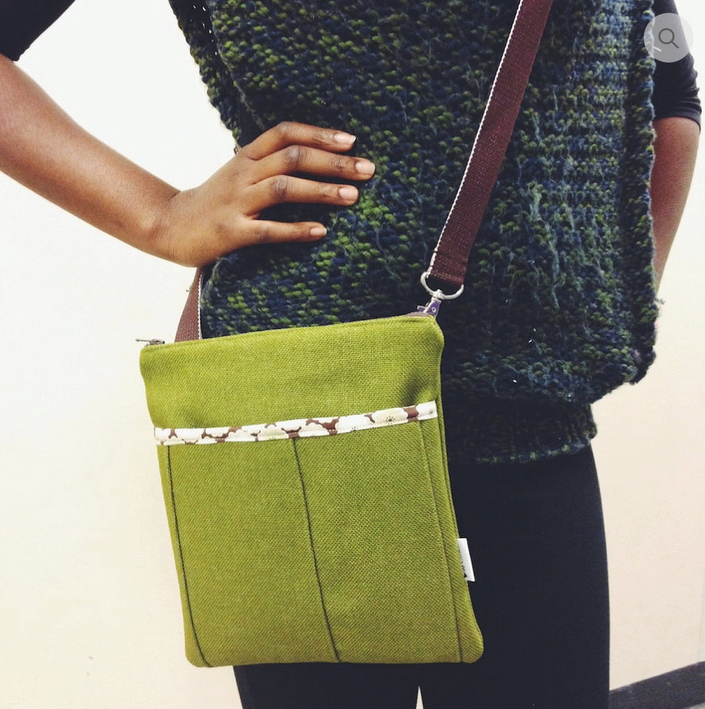 Fabric Handbags Made in the USA - Green Womens Messenger Bag