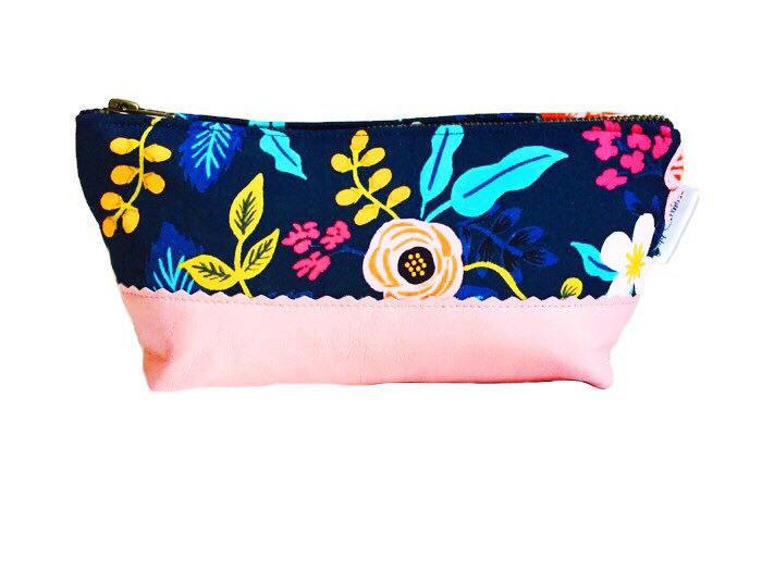 travel makeup bag - blue floral and bubblegum pink print