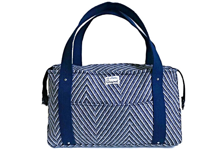 Blue Wool Striped Tote Bag