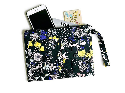 Phone Wristlet Black Flowers Print