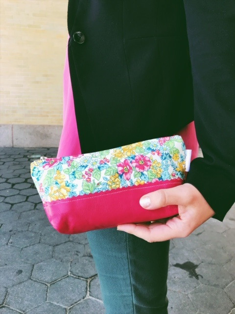 Makeup Bags Made in the USA - pink floral print leather makeup bag