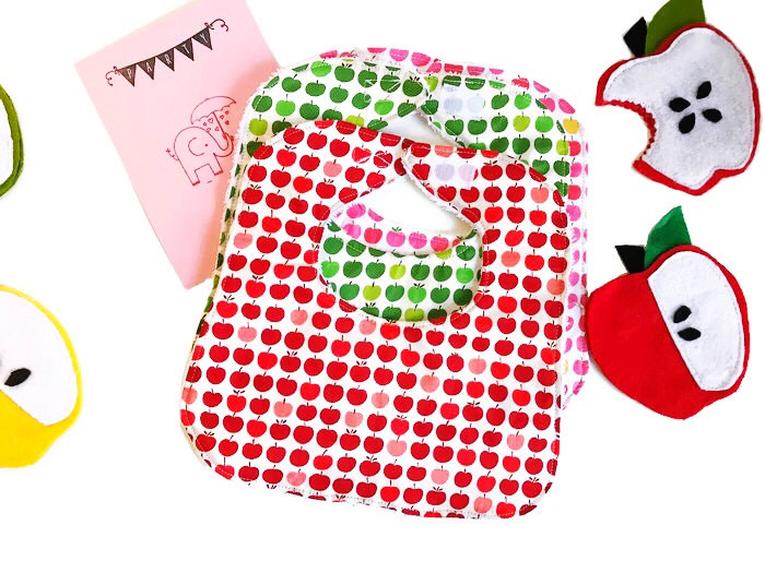 Baby Girl Bibs - Apples Print - Handmade Baby Bibs