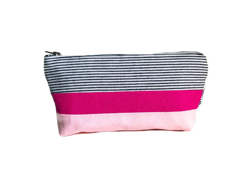 Canvas Zipper Pouch - Striped Blue, Fuchsia and Pink