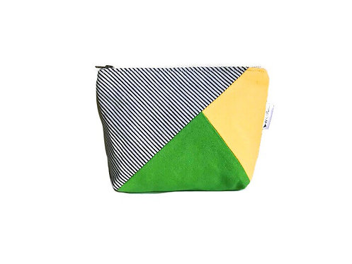Canvas Makeup Bag  - Green, Yellow and Striped Blue