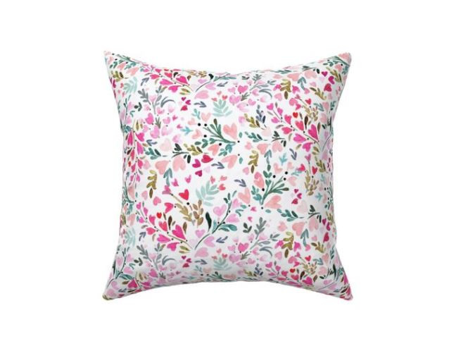 Heart Floral White Pillow