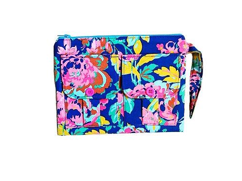 Wild Flower Blue Wristlet Wallet