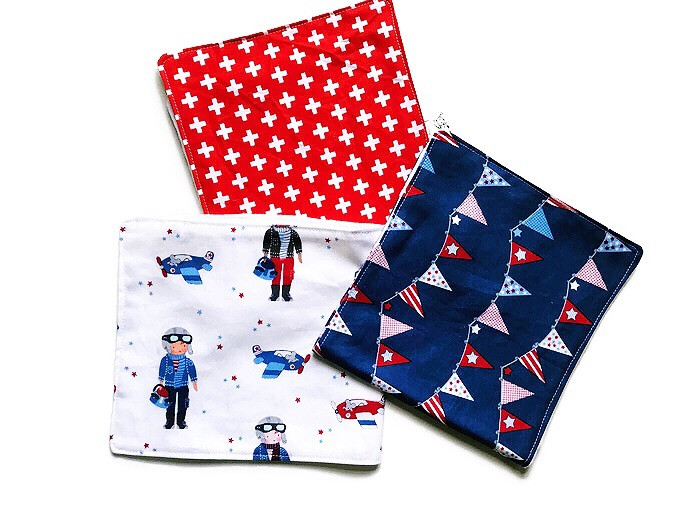 Handmade Baby Burp Cloths - Pilots and Airplanes Print