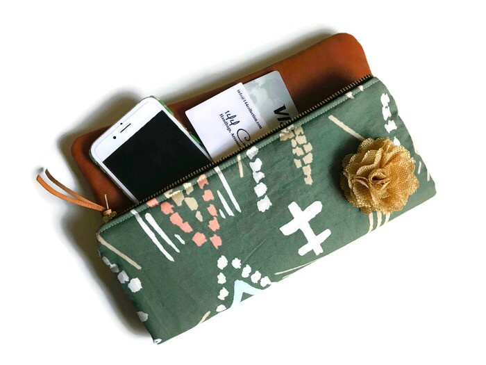 Green Gifts For Her - Fold Over Leather Clutch