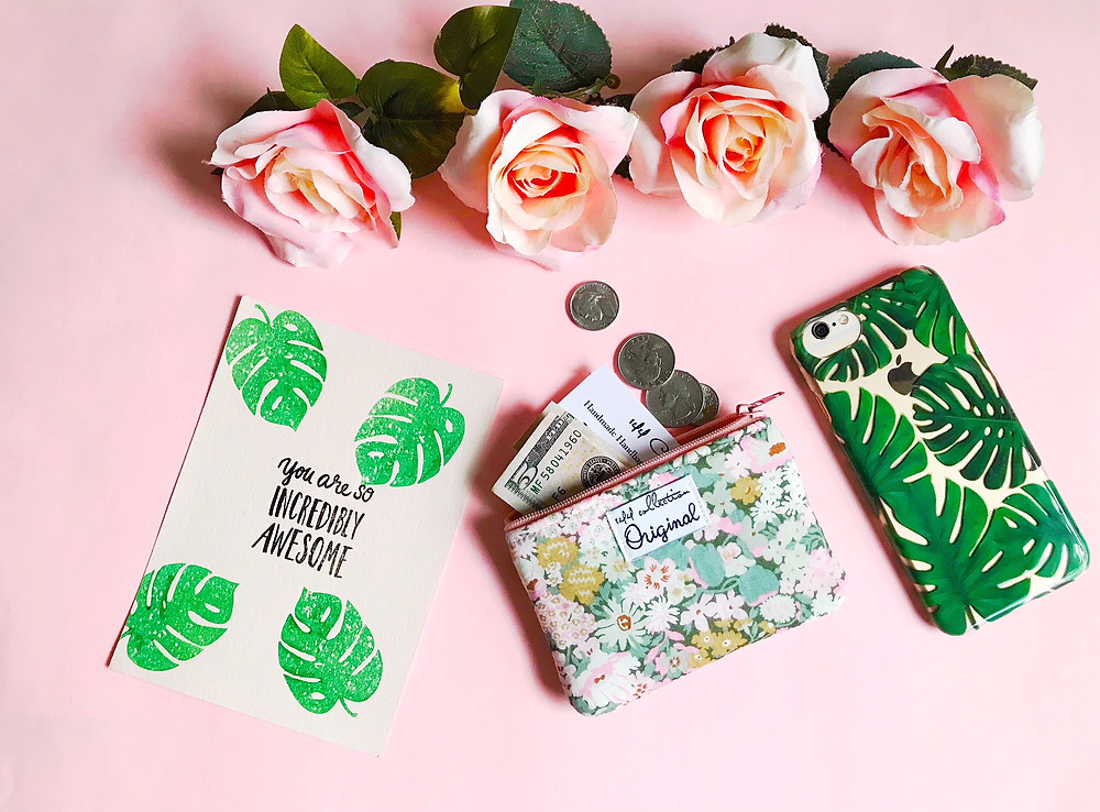 Handmade Fabric Coin Purses - Pink and Green Floral Print