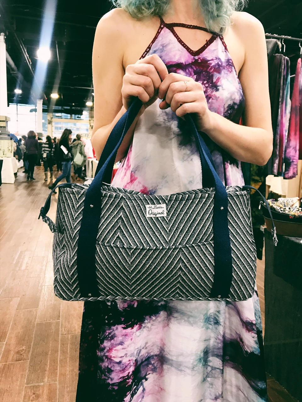 Handmade Bag - Striped Blue Fabric