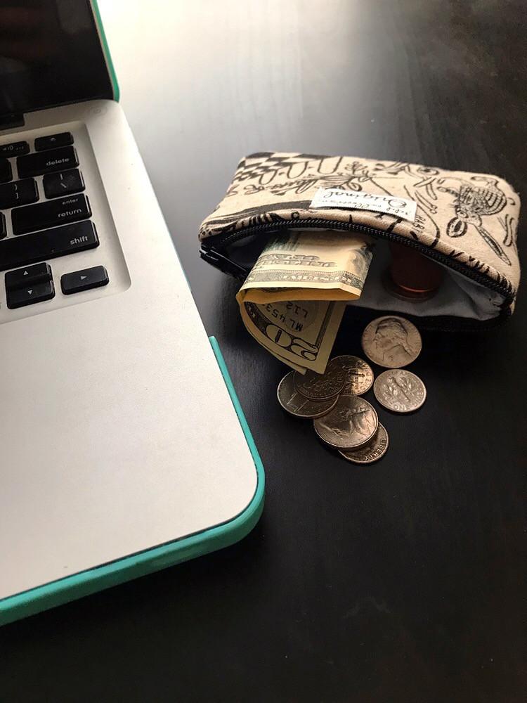 small change purse - rabbit print
