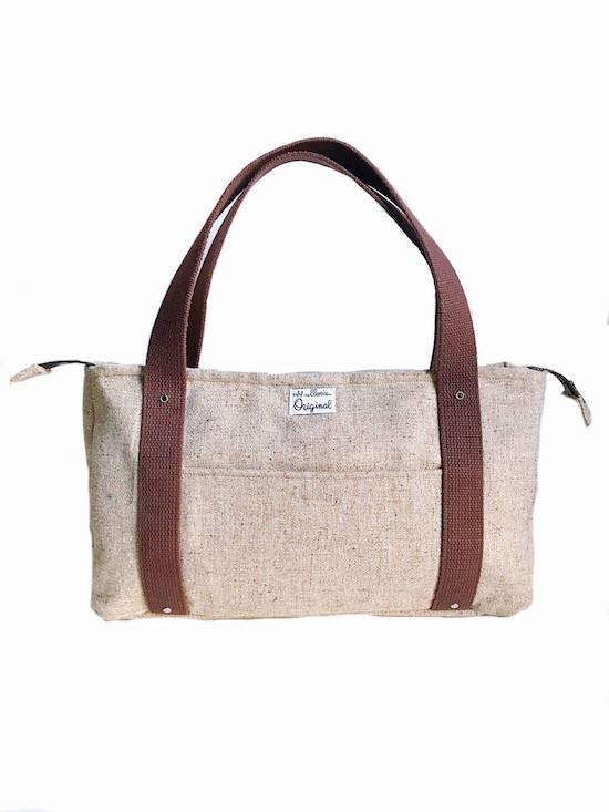 Handmade Bag - Pale Brown Wool Tweed Tote Bag
