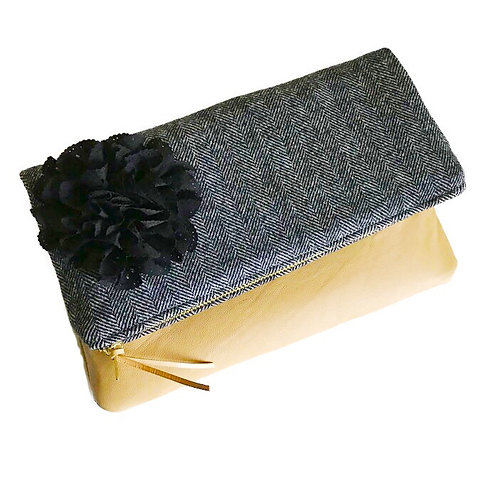 Wool Black Fold Over Leather Clutch Bag
