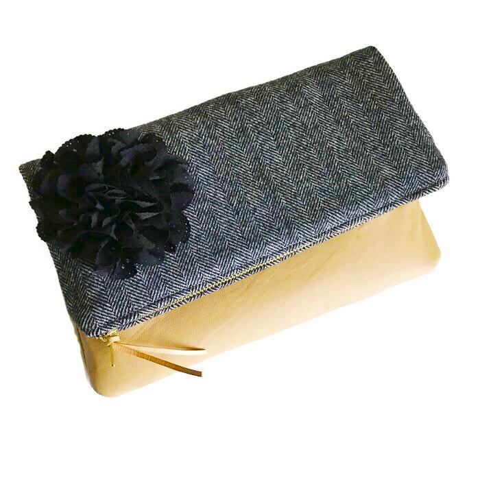 Leather Clutch Bag - Black Wool