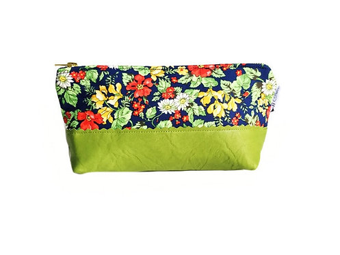 Floral Green Leather Cosmetic Bag