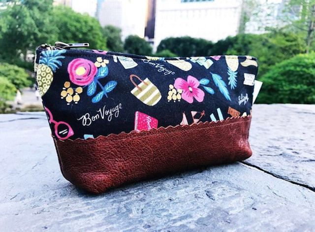 Leather Cosmetic Bag - Black with Bon Voyage Print