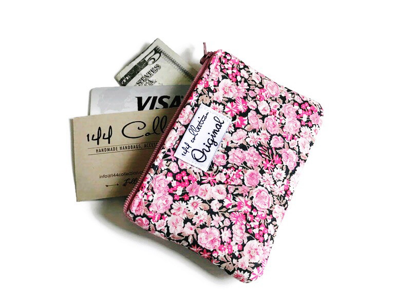 ladies coin purse - pink and brown floral print