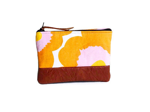 yellow poppy leather coin purse