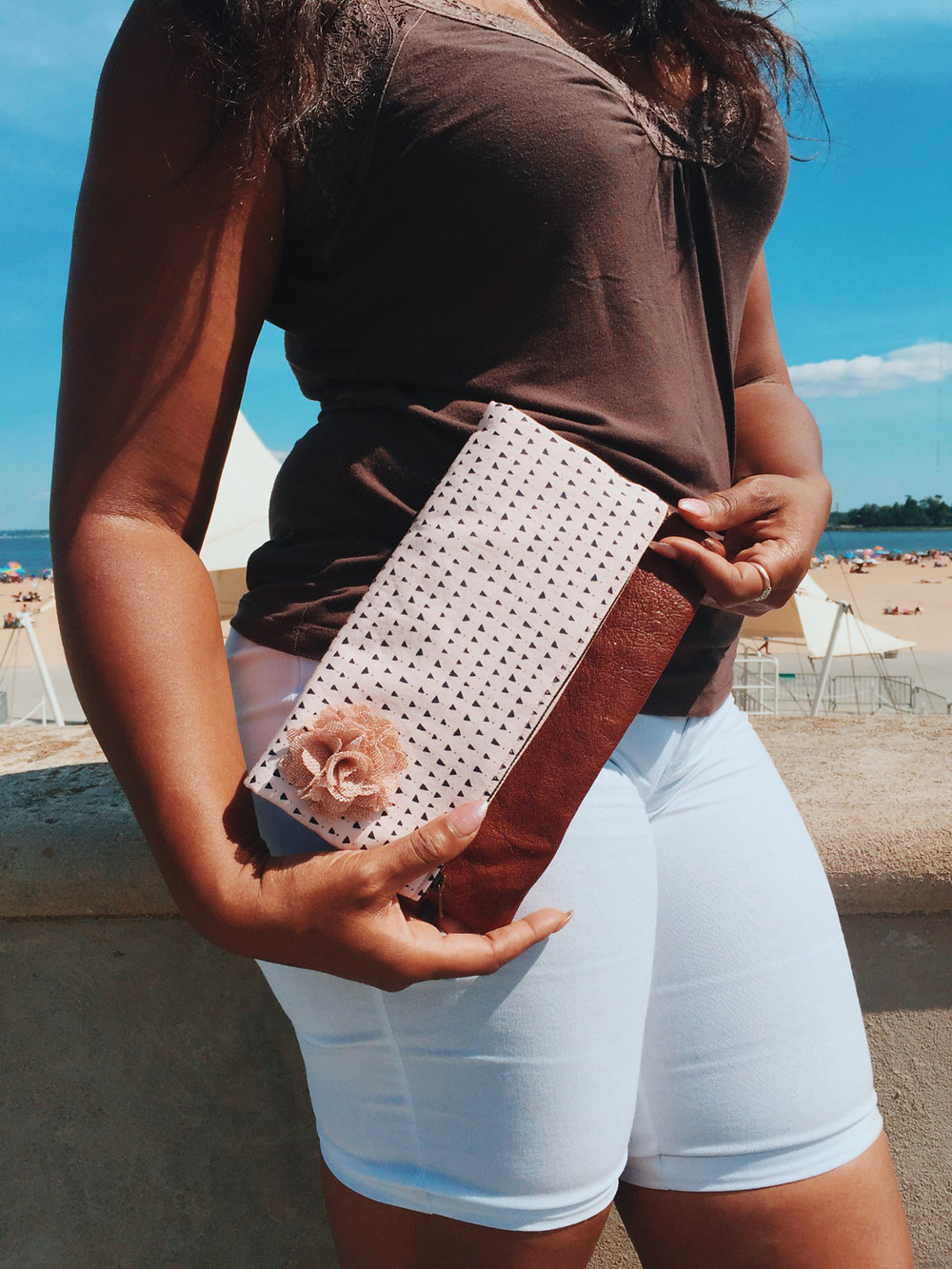 Leather Clutch Bag - Pink Triangles Print