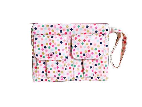 Pink Polka Dot Wristlet Purse