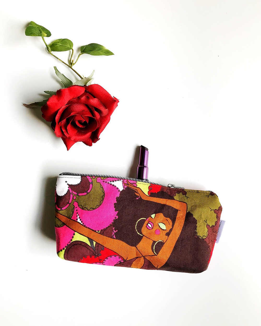 Cosmetic Bags for Purse - Afro Girl Print Pink
