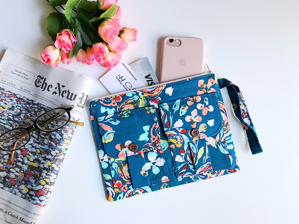 iPhone Wristlet - teal and pink floral print