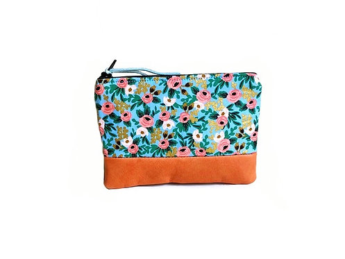 rosa orange leather coin pouch