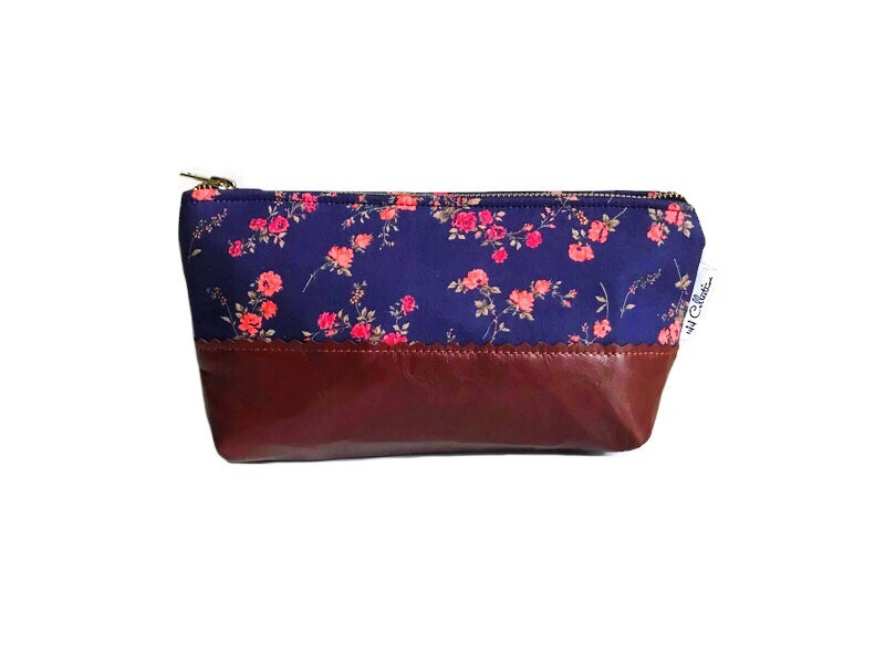 small leather cosmetic bag - blue floral print