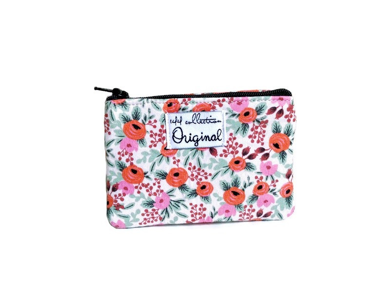 mini coin purse - rose print fabric pink