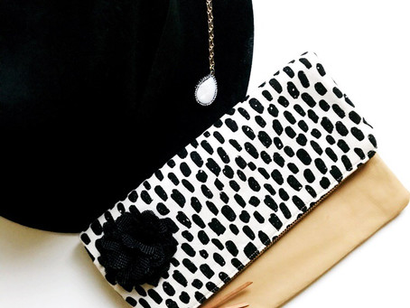 Foldover Leather Clutch: Dashes Black