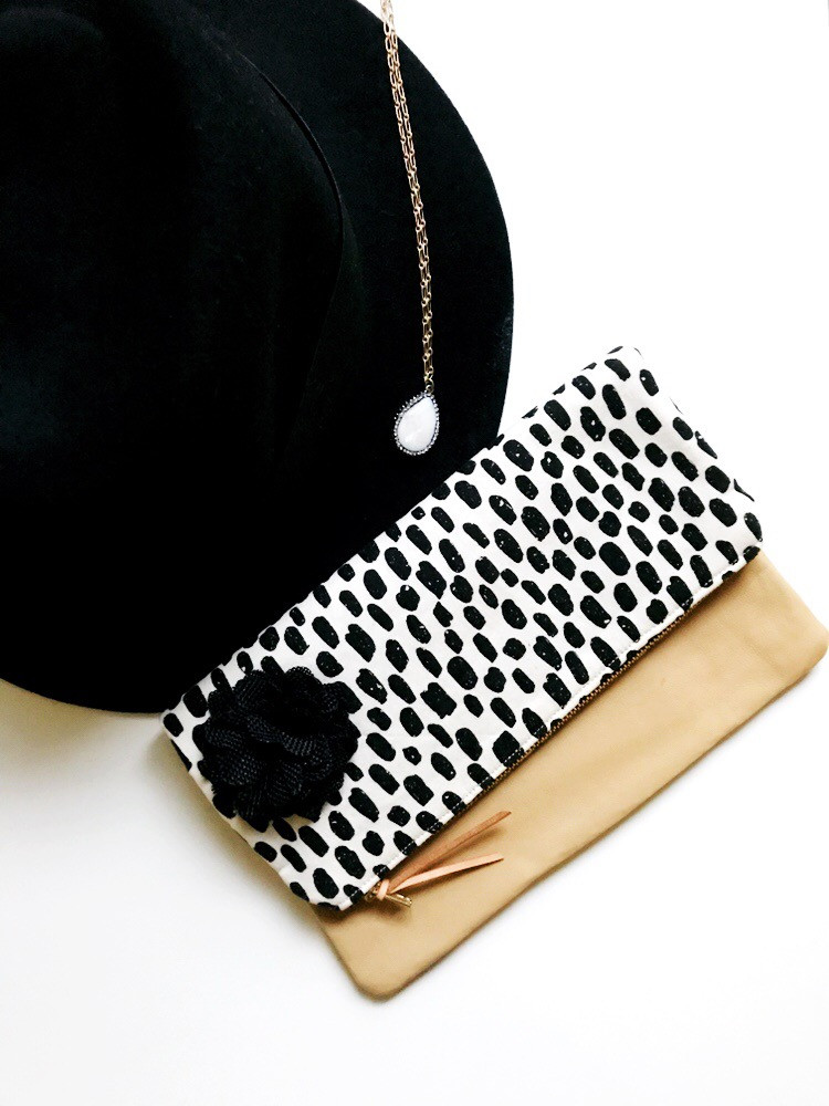 Foldover Leather Clutch - Dashes Black
