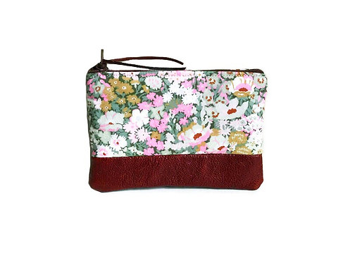 Green Floral Leather Coin Purse