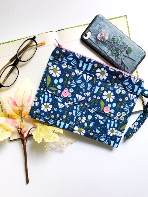 Fall Accessories - Floral Blue Wristlet